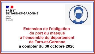 Extension de l'obligation du port du masque à l'ensemble du département de Tarn-et-Garonne